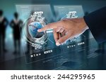 smart hand showing futuristic... | Shutterstock . vector #244295965