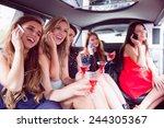 happy friends drinking... | Shutterstock . vector #244305367