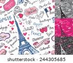paris symbols lettering emblems ... | Shutterstock .eps vector #244305685