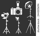 photo camera flash tripods... | Shutterstock .eps vector #244305694