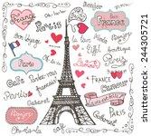 set collection of paris symbols ... | Shutterstock .eps vector #244305721