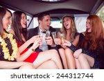 happy friends drinking... | Shutterstock . vector #244312744
