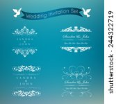 wedding card or invitation with ... | Shutterstock .eps vector #244322719