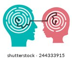 labyrinth in the head of child. ... | Shutterstock .eps vector #244333915