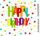 happy birthday greeting card ... | Shutterstock .eps vector #244339099