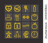 set of simple icons for health... | Shutterstock .eps vector #244345861