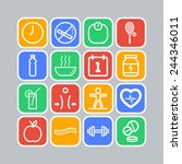 set of simple icons for health
