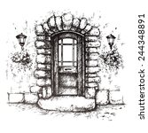 Freehand Drawing Of Front Door