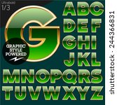 green alphabet with golden... | Shutterstock .eps vector #244366831