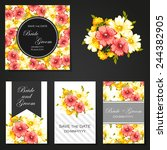 wedding invitation cards with... | Shutterstock .eps vector #244382905