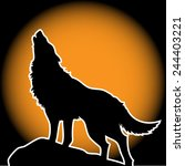 wolf howling in the moonlight | Shutterstock .eps vector #244403221