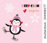 cute penguin with ice skate... | Shutterstock .eps vector #244408177