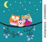 Good Night Owl Family Vector...