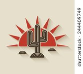 desert cactus at sunset  ... | Shutterstock .eps vector #244409749