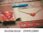 red heart shapes  envelopes and ... | Shutterstock . vector #244412884