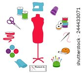 sewing  tailoring icons for diy ...   Shutterstock .eps vector #244433071