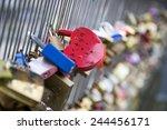 Love Locks On Paris Bridge At...
