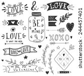 valentine's day design elements.... | Shutterstock .eps vector #244457401