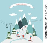 winter holidays greeting card... | Shutterstock .eps vector #244474354