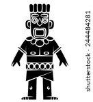 black silhouette    tiki statue | Shutterstock .eps vector #244484281