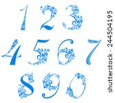 floral numbers set isolated on... | Shutterstock .eps vector #244504195
