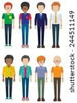eight faceless men smiling on a ... | Shutterstock .eps vector #244511149