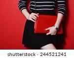 trendy young girl in black... | Shutterstock . vector #244521241