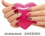 manicure with rhinestones in... | Shutterstock . vector #244530301