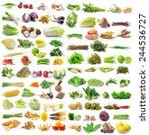 set of vegetable on white... | Shutterstock . vector #244536727