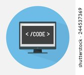 monitor with coding editor flat ... | Shutterstock .eps vector #244537369