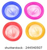 Stock photo four colorful condoms on white background minimal shadow around objects 244540507
