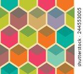 retro geometric hexagon... | Shutterstock .eps vector #244553005