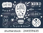valentine's day design elements.... | Shutterstock .eps vector #244559635