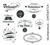 valentine's day typography set  ... | Shutterstock .eps vector #244564714