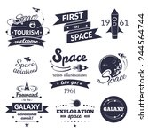 space logo and label set ... | Shutterstock .eps vector #244564744