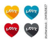 flat hearts with word   love... | Shutterstock .eps vector #244565827