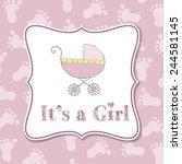 baby girl  invitation for baby... | Shutterstock .eps vector #244581145