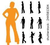 vector silhouette of a woman on ... | Shutterstock .eps vector #244581304
