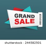 grand sale banner with barcode. ...
