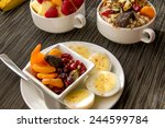 fresh fruit and oatmeal with... | Shutterstock . vector #244599784