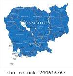 cambodia map | Shutterstock .eps vector #244616767