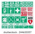 emergency evacuations sings   Shutterstock .eps vector #244633357