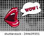 mouth and speach bubble  pop... | Shutterstock .eps vector #244639351