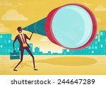 businessman looks through his... | Shutterstock .eps vector #244647289