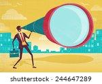 businessman looks through his... | Shutterstock .eps vector #244647289