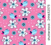 cute bird pattern with flower...   Shutterstock .eps vector #244652575