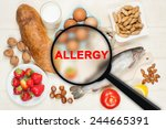 Allergy Food Concept. Food On...
