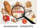 allergy food concept. food on... | Shutterstock . vector #244665391