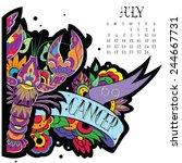 page astrological calendar.... | Shutterstock .eps vector #244667731