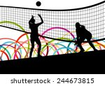 active young women volleyball... | Shutterstock .eps vector #244673815